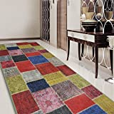 Teppichläufer Monsano | Patchwork Muster im Vintage Look | viele Größen | rutschfester Teppich Läufer für Flur, Küche, Schlafzimmer | Niederflor Flurläufer | bunt Breite 80 cm x Länge 350 cm - 3