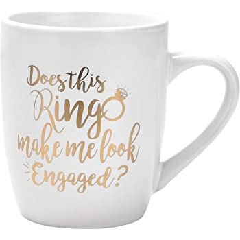 Funny Coffee Mug Does This Ring Make Me Look Engaged Coffee Mug Funny Mug Novelty Coffee Mug Gift for Women Men Engagement Anniversary Birthday Christmas