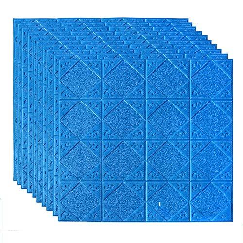 DEWUFAFA 70cm PE-Schaum-Selbstklebende 3D-Wand-Aufkleber Tapete Geprägte Brick Keramik-Fliese Steinwandpaneele Abziehbilder for Schlafzimmer Küche Wohnzimmer Dekor (Color : Dark Blue)