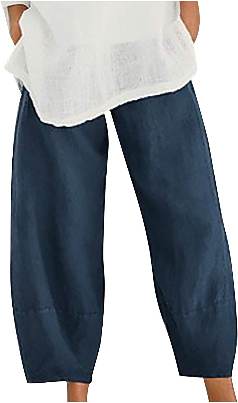 Linen Pants for Women,Women's Summer Cotton Linen Pants Cropped Wide Leg Trousers,Pants for Women
