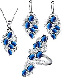 مجوهرات للنساء من ايكسيلي بعلامة الفضة 925، وكريستال ازرق واخضر، تتضمن حلق وقلادة وخاتم
