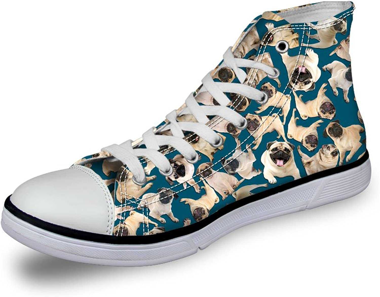 EnlaMorea Floral Cat Dog Print Sneaker High Top Canvas shoes for Men Women