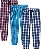JINSHI Pantalones Pijamas Largos Algodón a Cuadros Hombre Casual Pantalones de Estar con Bolsillos 3 Pack XXL