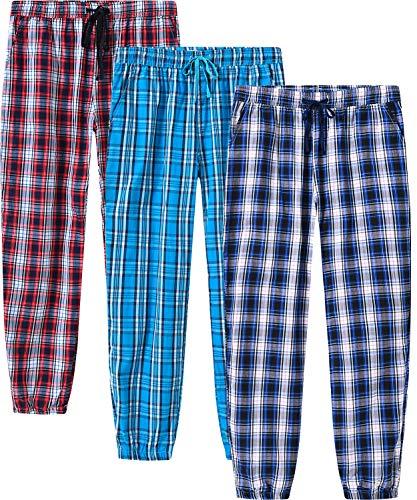 JINSHI Herren Schlafanzughosen Karierte Pyjamahose Baumwolle Nachtwäsche Lang Loungewear Freizeithose 3 Pack M