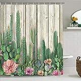 Alishomtll Duschvorhang Textil Duschvorhang Stoff mit Ringen 175x178cm, Kaktus Muster Duschvorhang Badewanne Digitaldruck Polyester Anti Schimmel, Grün