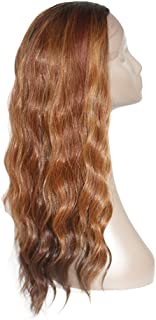 X-TRESS Synthetic Lace Front Wigs Ombre Brown 22 Inch Long Wavy Wig With Baby Hair Glueless Half Hand Tied Fiber Hair Ombre Black To Brown Replacement Hair Wigs For Women (OP27)