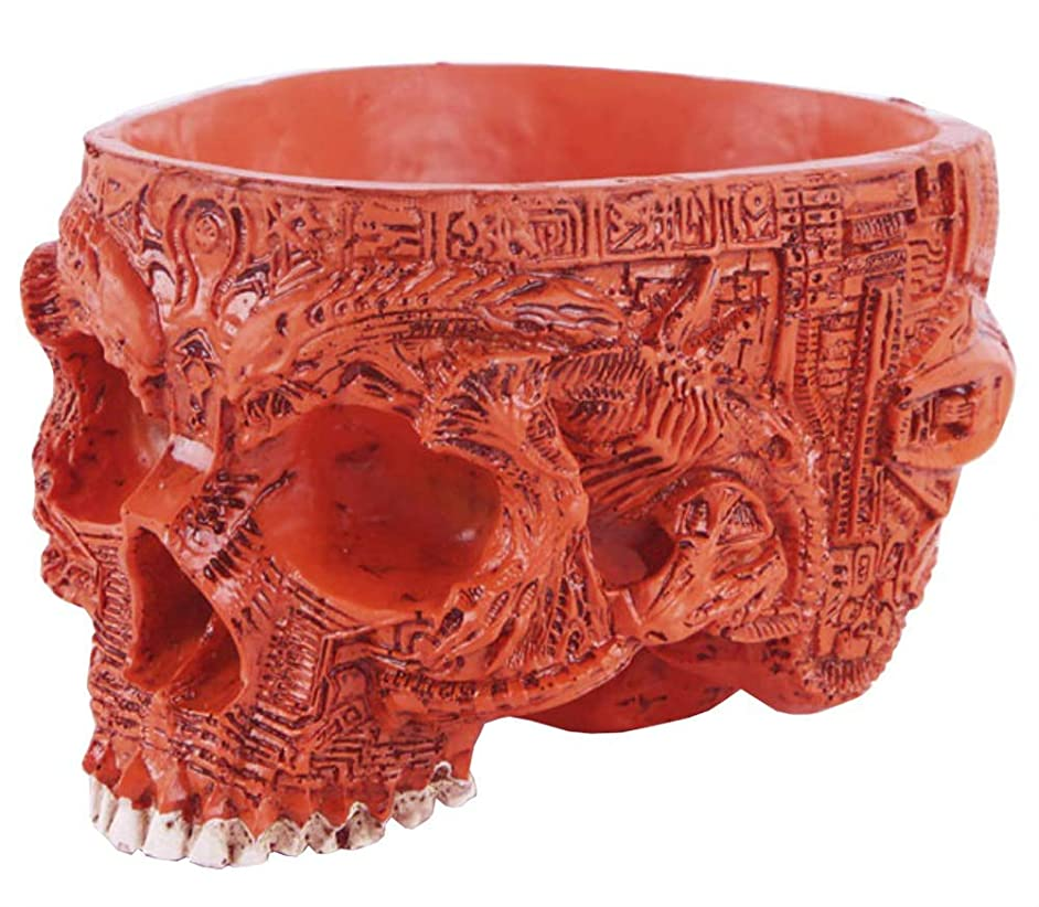 Funnuf Resin Halloween Skull Candy Bowl Flowerpot Dish Statue Sculpture Skeleton, 6.5 Inch, Red Carved