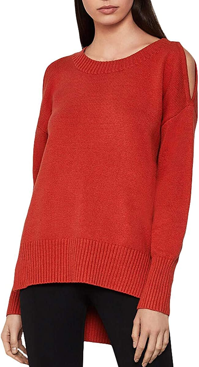 BCBG Max Azria Women's Cold Shoulder High-Low Long Sleeve Pullover Sweater