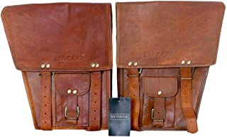 ENVOUGE INDIA Saddle Bags for Motorcycles -Leather Panniers Brown Bag -Large Capacity Classic Saddlebags for Bike Scooter Honda Suzuki Yamaha HD Street Sportster Side Pouch panniers (2 Bags)