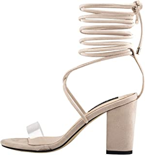 Best nude lace up chunky heels Reviews