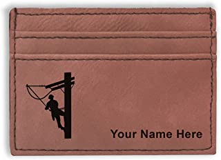Money Clip Wallet, Lineman, Personalized Engraving Included