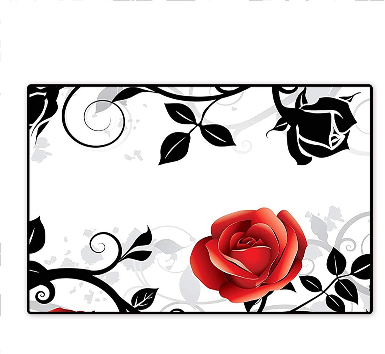 Doormats Stylized Hand Writing of Just Married on Pink Heart Tulip Flower Coral Black White Modern Home Decoration 5'x6'
