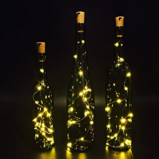 Set of 3 Wine Bottle Lights, ATTAV Warm White LED Cork Shaped Starry String Lights - 15LED 30inch/75cm Copper Wire Fairy Lights for Bottle DIY, Party, Christmas, Wedding, Dancing