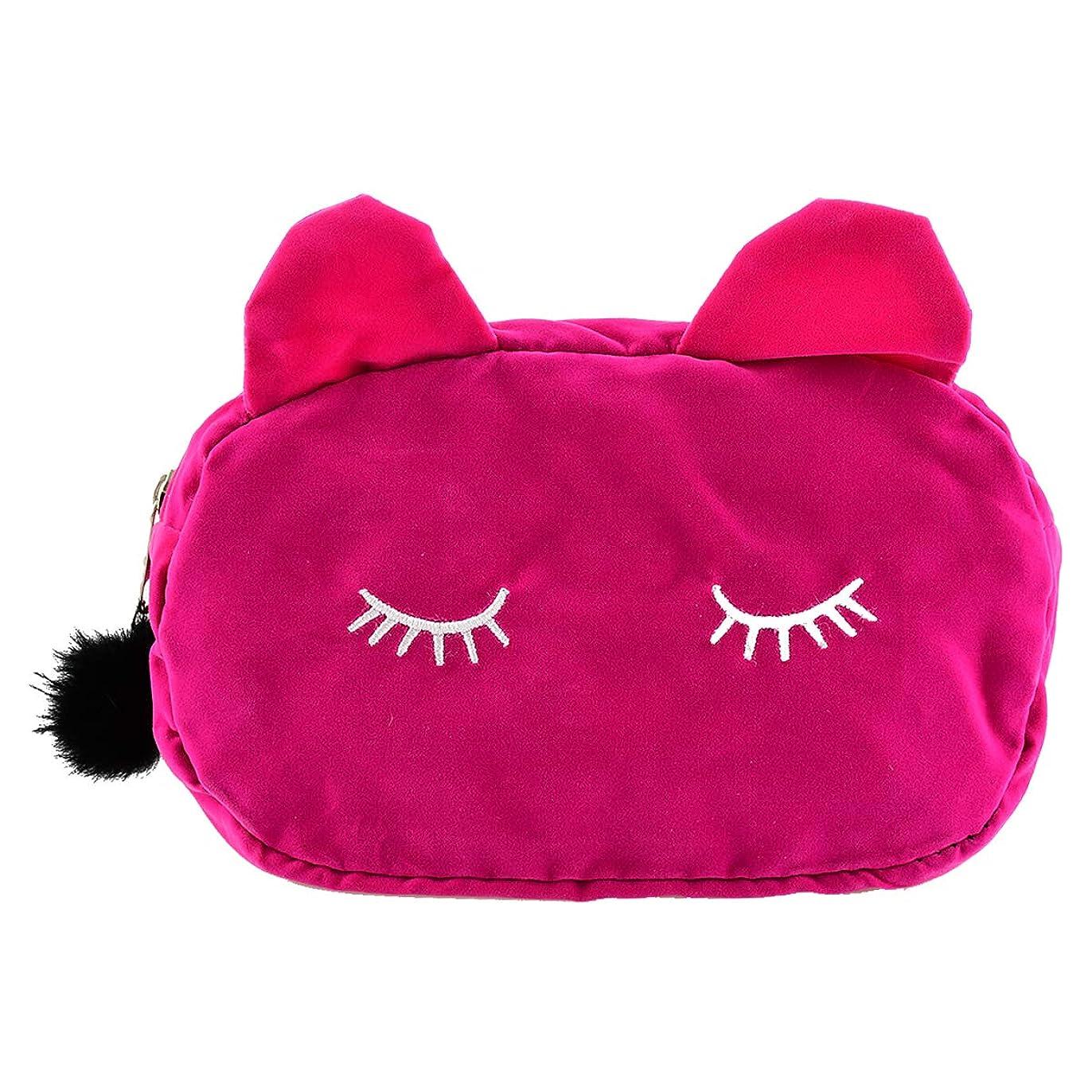 パスアジア人セブンYideaHome 化粧ポーチ コンパクト ベルベット ポーチ メイクポーチ 化粧品 化粧道具 収納 バッグ 旅行用ポーチ ねこ柄 可愛い