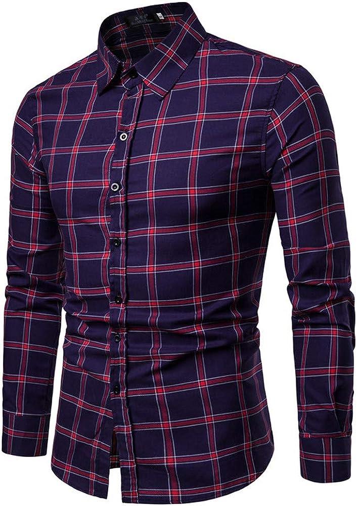 MODOQO Men's Casual Button Down Plaid Shirt Long-Sleeve Standard-Fit Dress Shirt