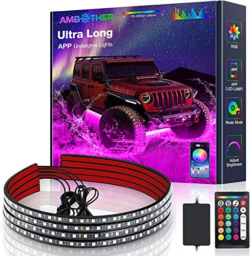 AMBOTHER Car Underglow Lights Ultra Long LED Car Lights Exterior Waterproof 2-in-1 Design App Control Under Glow Kit for Cars Trucks Sync to Music Neon 16 Million Colors, DC 12-Volt