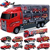 Car Toddler Toys for Boys,Trucks 10 in 1 Die-cast Fire Truck Mini Rescue Emergency Fire Cars Toy Set Play Engine Vehicle in Carrier Truck Gifts Cars Toddlers Toys for Age 3 4 5 6 7 Year Old Boy Kids