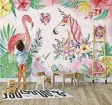 3D nórdico pintado a mano unicornio fondo de pantalla sala de estar dormitorio papel tapiz 5ins pink flamingo habitación infantil Papel Pintado a papel Fotográfico Fotomural dormitorio-200cm×140cm