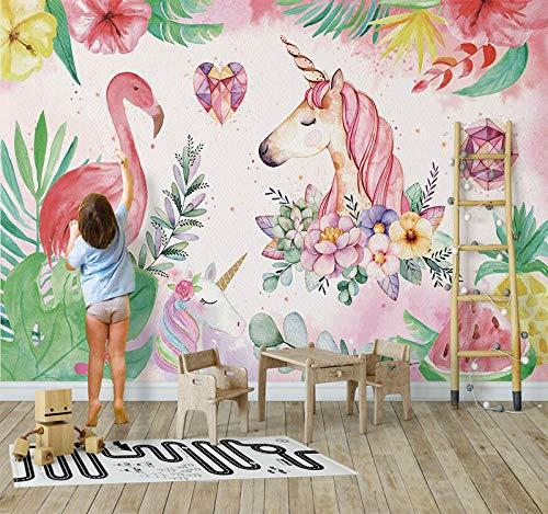 3D nórdico pintado a mano unicornio fondo de pantalla sala de estar dormitorio papel tapiz 5ins pink flamingo habitación...
