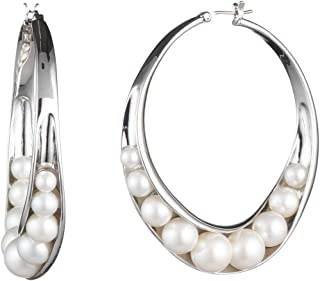 Carolee Pendent Wrapped pearl large hoop