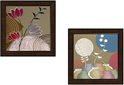 SAF Flower Textured UV Print Painting(Set of 2, 35 cm x 2 cm x 35 cm) SANFAAD169