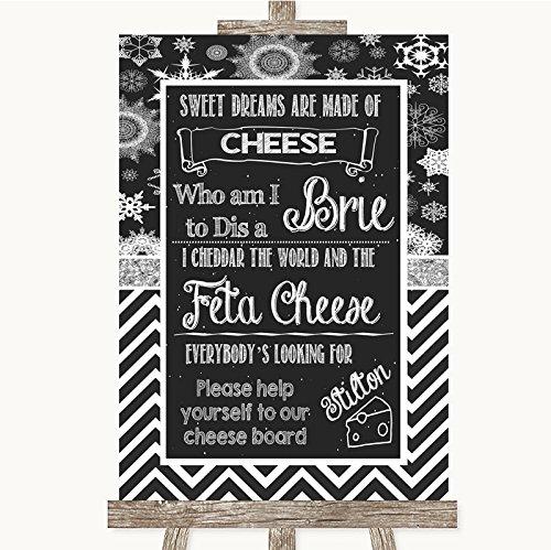 Chalk Winter Bruiloft Teken Collectie Krijt Winter Kaas Board Song Bruiloft Teken Framed Oak Medium Black/Gold/White