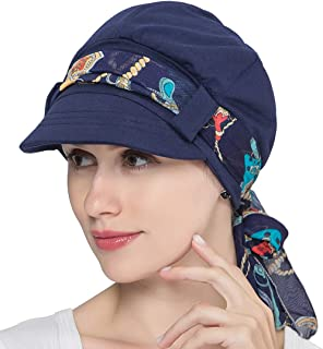 JarseHera Chemo Hats for Women Bamboo Cotton Lined Newsboy Caps with Scarf Double Loop Headwear for Cancer Hair Loss