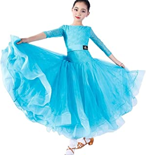 Fishbone Skirt, Children's Modern Dance Dress, Lace, Long Sleeve Dance Costume, Children's National Standard Dance Costume (Color : Blue, Size : XXL)