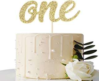 Gold Glitter ONE Cake Topper - for Baby Shower/First Anniversary/First Wedding Anniversary / 1st Birthday Party Decorations
