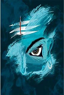 Wildmark Lord Shiva Poster | Mahadev Mordern Art Third Eye of Shiva Painting Wall Poster (Blue,12x18 inches,Paper)