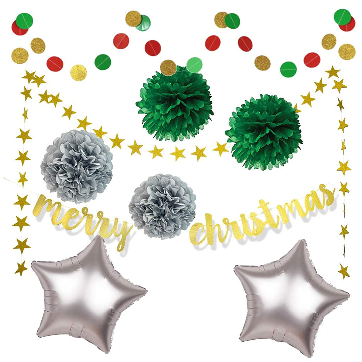 Christmas Party Decoration - Merry Christmas Banner + Circle Dot Paper Bunting + Glitter Star Paper Garland + Tissue Paper Pom Pom + Foil Star Balloons