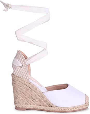 07c778f418 Linzi Meghan - White Canvas Closed Toe Espadrille Wedge with Tie Up Straps