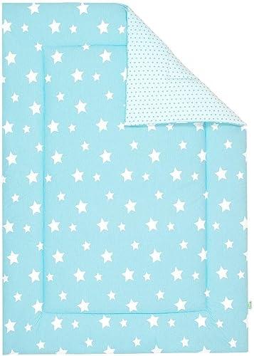 Odenw er Wende-Krabbeldecke Weiß stars frozen minze, Größe 100 x 135