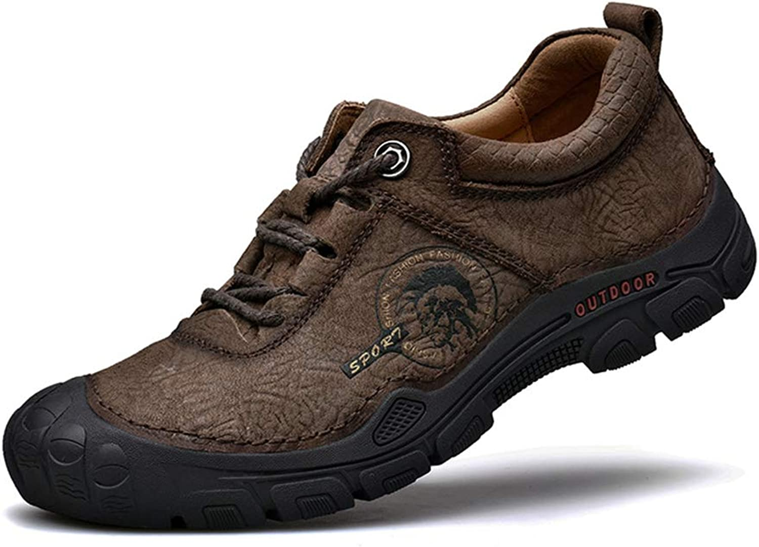 KANGLE Men'S Outdoor Sports Hiking shoes Leather Breathable Casual shoes Non-Slip Waterproof Walking shoes For Trekking, Travelling,Camping, Biking
