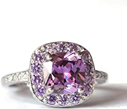 Czjewelry Classic Square Rings for Women Wedding Party Statement Engagement Jewelry Purple CZ Cocktails White Gold Plated Fashion Size 6-9