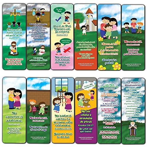 Spanish 10 Commandments Bookmarks Cards (60-Pack) - Church Memory Verse Sunday School Rewards - Christian Stocking Stuffers Birthday Party Favors Assorted Bulk Pack