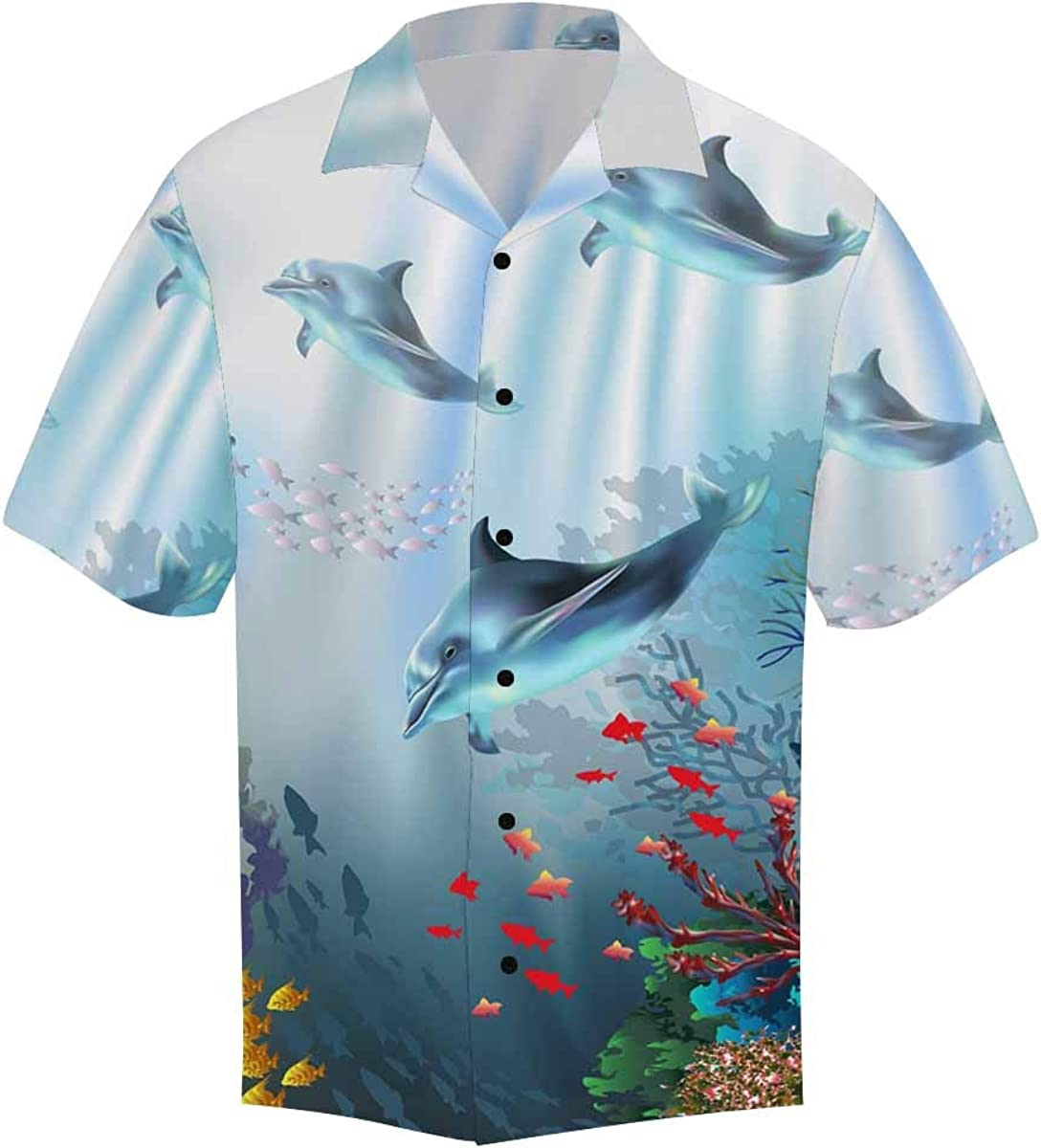 InterestPrint Men's Casual Button Down Short Sleeve Jelly Fish Watercolor Hawaiian Shirt (S-5XL)