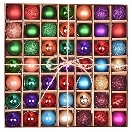 Valery Madelyn Weihnachtskugeln 49 Stücke 3CM Kunststoff Christbaumkugeln Weihnachtsdeko mit Aufhänger Glänzend Glitzernd Matt Baumschmuck Weihnachten Dekoration Buntfarbe