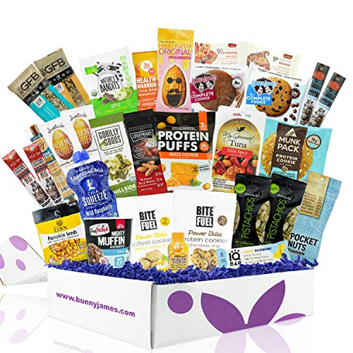 High Protein Healthy Mother's Day Gift Box: Mix Of Natural Organic Non-GMO Protein Bars, Healthy Easter Treats, Cookies, Granola Mix, Jerky, Nuts, Perfect Gift For Mom