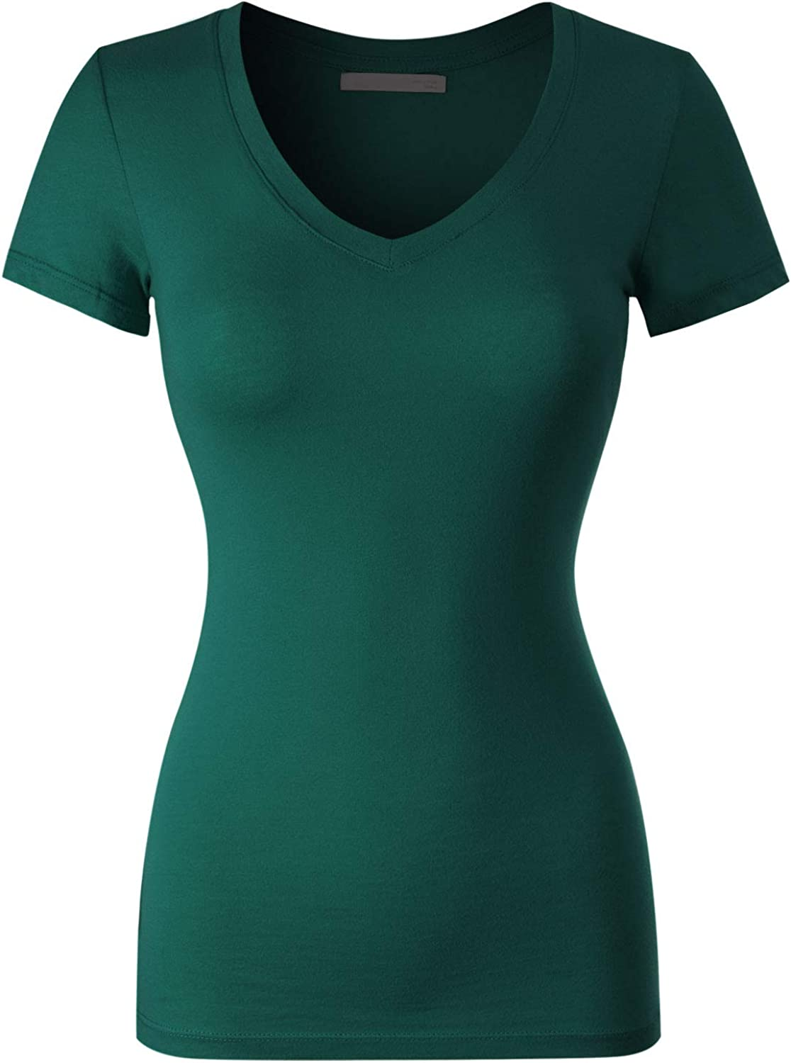 Design by Olivia Women's Basic Solid Multi Colors Fitted Short Sleeve T-Shirt [S-3XL]