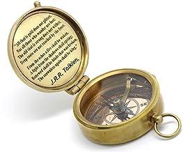 Massief messing kompas J. R. R. Tolkien citaat met lederen behuizing.