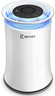 Enther Air Purifiers for Home with True HEPA Filter, Air Filter for Allergies Pets Smoke Smokers Mold Dust, Air Cleaner Odor Eliminator for Large Room with Air Quality Monitor, Optional Night Light