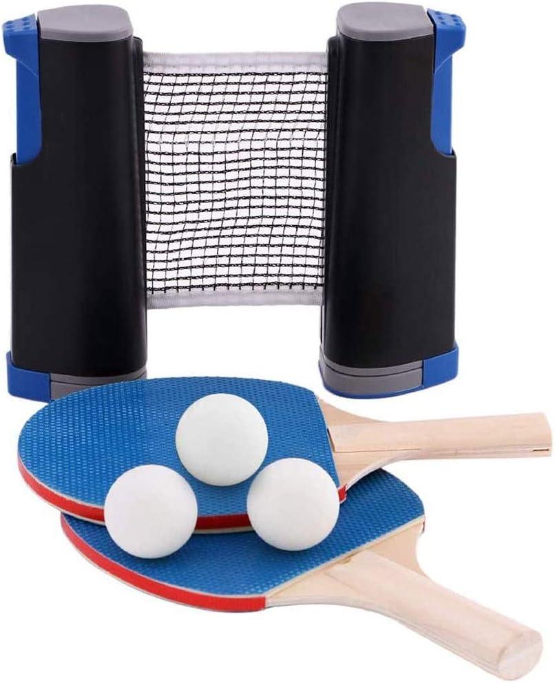 Portátil de ping-pong conjunto de paletas con mesa retráctil neta en cualquier lugar 2 raquetas de tenis de mesa Paletas 3 Formación Práctica bolas Trainer vuelta de Control Conjunto completo cubierta