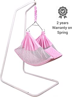 Kidzy King Baby Hammock-Pink with Stand, Spring Set and Mosquito Net. Premium Luxury Baby Cradle for 0-3 Year Baby. Best Gift for New Born.