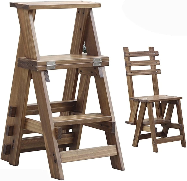 DNSJB Scaletta pieghevole a 3 gradini Sgabello Scaletta pieghevole in legno Sedia da interno Scala a doppio uso Sgabello da arrampicata, Scalette da cucina Sgabelli piccoli da portata per adulti Bambi