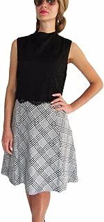 Antonio Melani Women's Lace Top, Checkered Bottom Dress Sz 14 (Black)