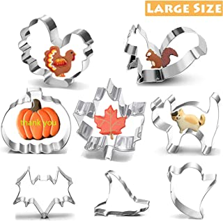 Thanksgiving Fall Cookie Cutter Set-8 Piece Large Stainless Steel Cookie Cutters-Pumpkin, Cat,Bat,Ghost,Witch Hat,Turkey, Maple Leaf, Squirrel(3 inches)