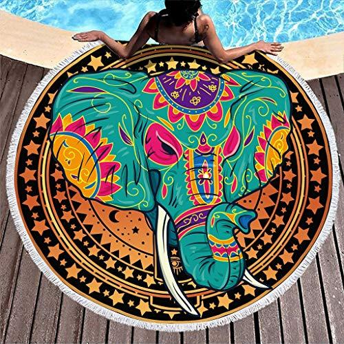 WT-DDJJK Toallas de Playa, Toallas de Playa Redondas sábanas de baño de Lujo Borla compacta súper Absorbente Mujeres y niños natación Viajes Deportes Talla única Blanca