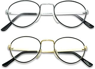 588f7a345bbc SunglassUP 2-PACK Classic Oval Round Magnification Reading Eye Glasses  Power Strength +1.00 -