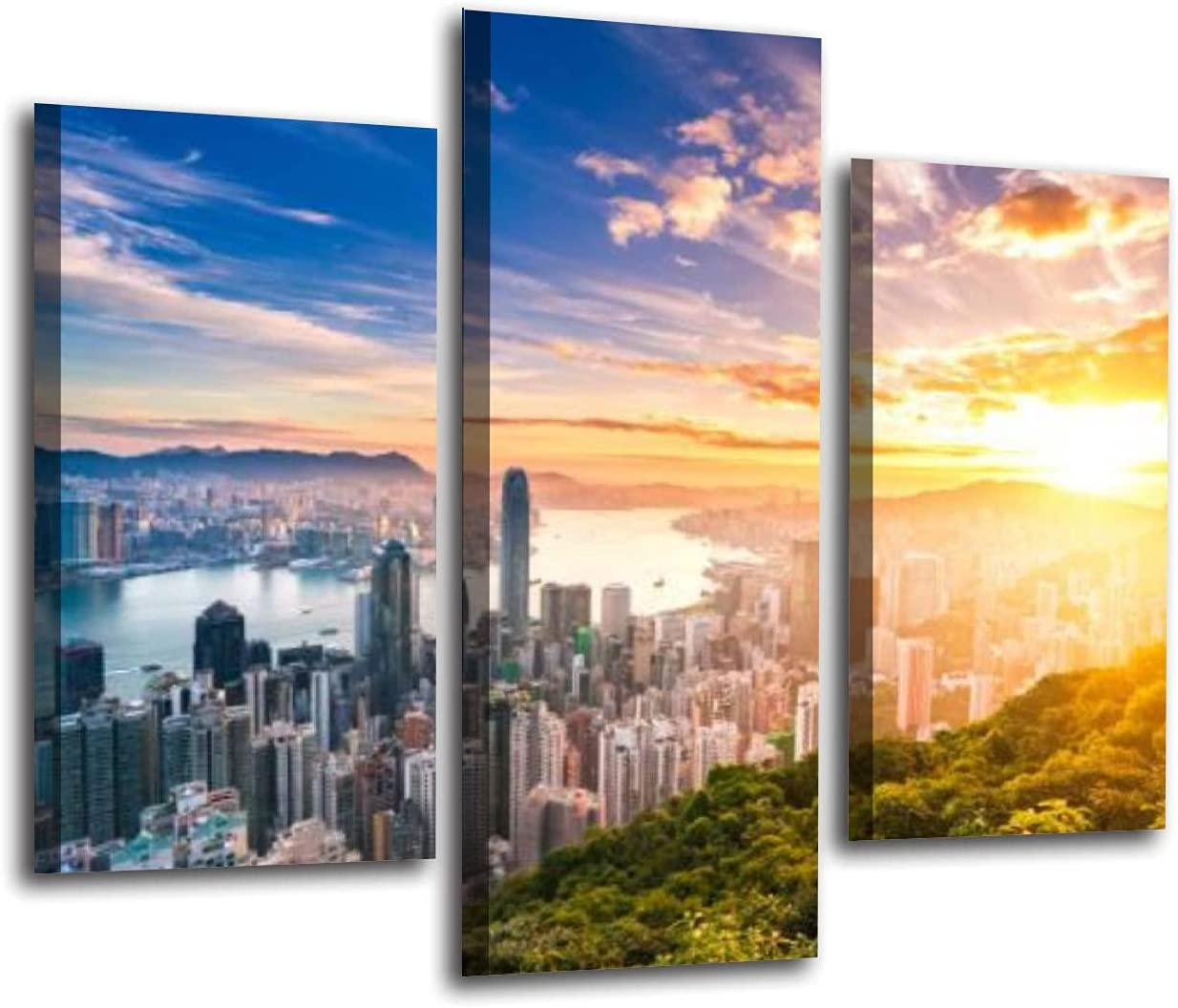 Canvas Print Wall Art Painting for Home Decor Hong Kong skyline at sunrise Paintings Modern Giclee Artwork Living Room Decoration Pictures Prints On Canvas 3 Pieces